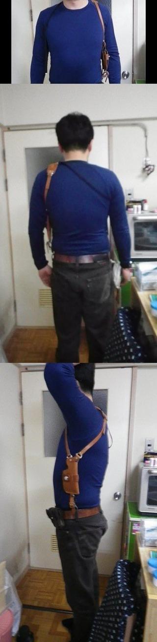 ハーレー用レザースマホケース装着