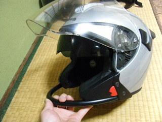 ハーレー用ヘルメットの格納バイザー