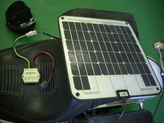 ハーレーダビッドソンのソーラーパネル充電装置