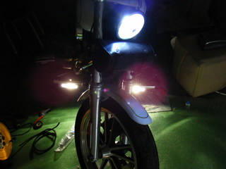 ハーレーのフォグライト点灯