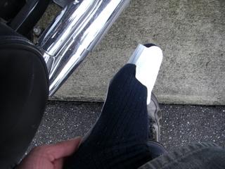 ハーレーダビッドソンのブーツヒーター装着