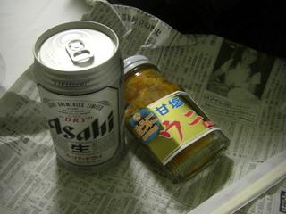 ビールとウニ