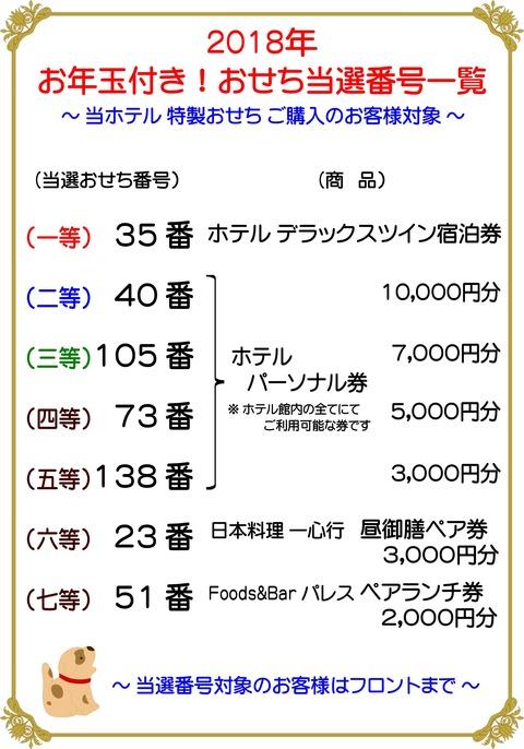 H30年 ホテル おせち抽選当選一覧