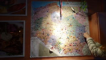地図に画鋲