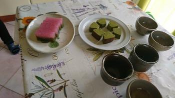 桜羊羹と抹茶バームクーヘン