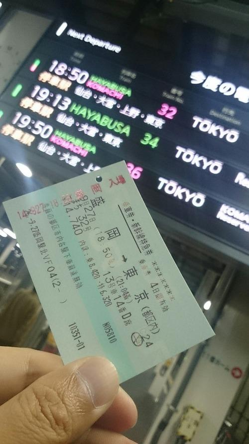 新幹線こまち 切符