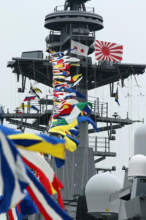 満艦飾 横浜大桟橋 海上自衛隊 DDH-183 護衛艦いずも 一般公開