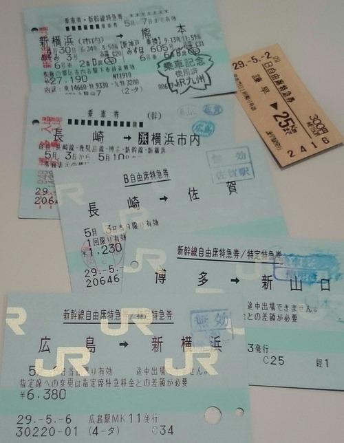 切符 特急券 乗車券 九州・中国地方紀行