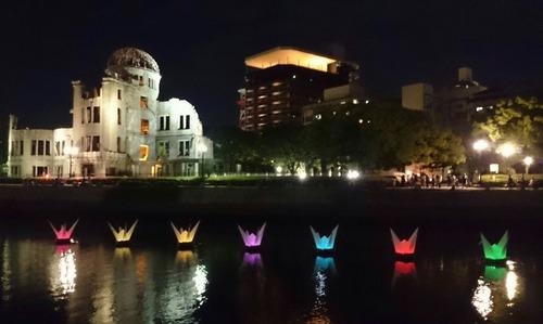 夜景 原爆ドーム ライトアップ