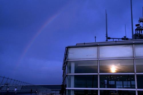 虹と夕陽 セントレア