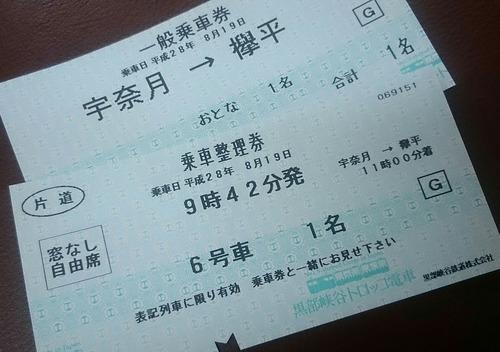 黒部峡谷トロッコ電車 切符