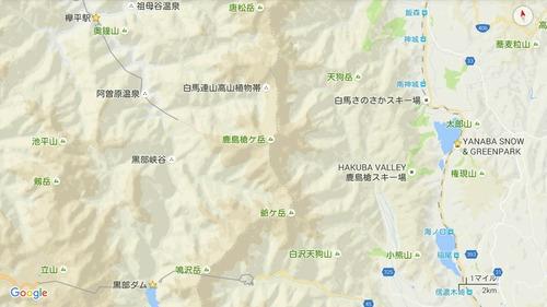 Googleマップ 北アルプス