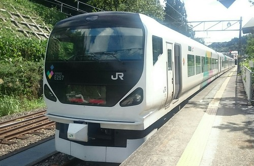 JR東日本 E257系電車 特急あずさ26号 大糸線 南小谷駅