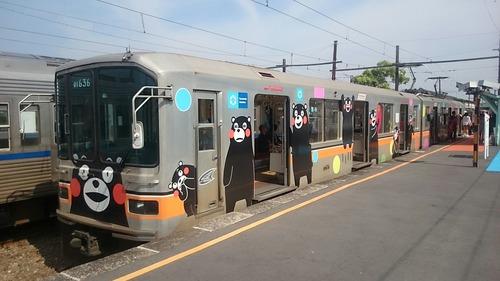 熊本電鉄 01形 くまモン 北熊本駅