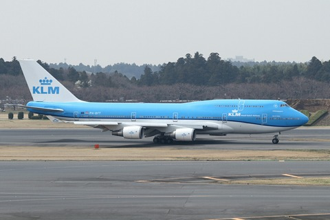 PH-BFT B747-400 KLM RJAA 新塗装初飛来