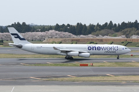 OH-LQE A340-300 FIN one world RJAA