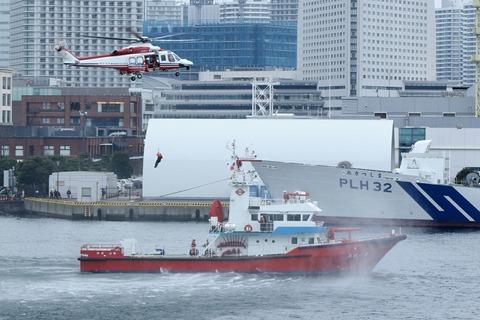 JA152Y AW139 よこはま 横浜消防出初式 航空救助訓練 横浜大桟橋