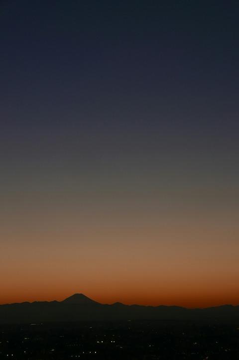 夕景 富士山 東京都庁 展望台