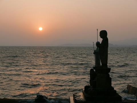 夕日 袖師地蔵 宍道湖