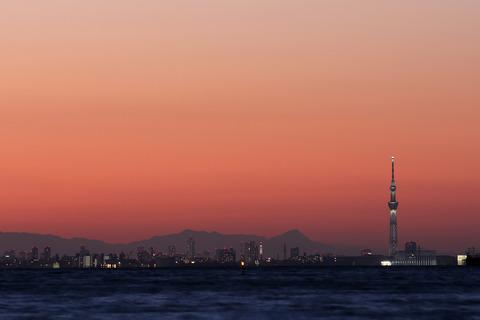 夕景 東京スカイツリー 稲毛海浜公園 いなげの浜