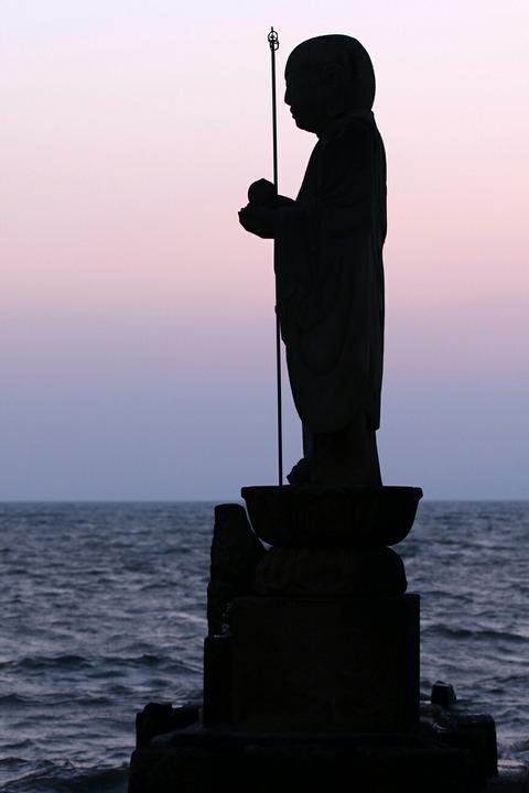 夕景 袖師地蔵 宍道湖