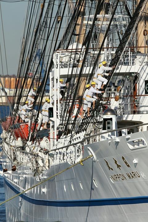 登檣礼 帆船 日本丸 横浜港 新港埠頭 出航
