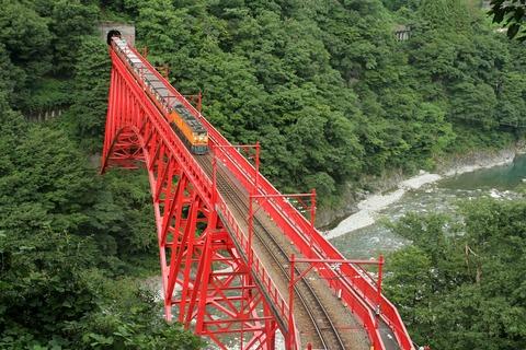 黒部峡谷鉄道 トロッコ電車 新山彦橋 やまびこ展望台