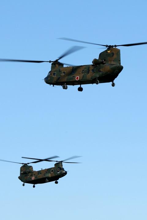 大型ヘリコプター地上滑走 立川防災航空祭 陸上自衛隊 立川駐屯地