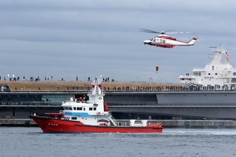 JA131Y AW139 消防艇よこはま 横浜消防出初式 航空救助訓練