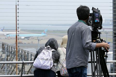 羽田空港 第1ターミナル展望デッキ 日本テレビ 取材 大韓航空機