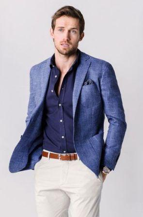5cdb5c65b0dbb メンズファッション入門 : 春はブルーのジャケットで爽やかオヤジを演出