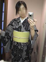 絞りの浴衣×黄色に蝶の紗帯2