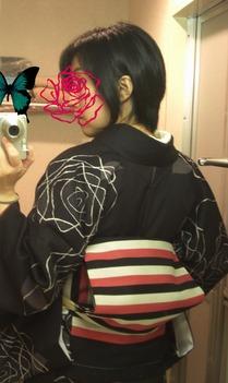 薔薇柄洗える着物1