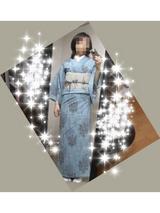 水色単衣×薔薇夏帯1