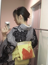 絞りの浴衣×黄色に蝶の紗帯3
