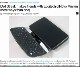 Dell Streak makes friends with Logitect
