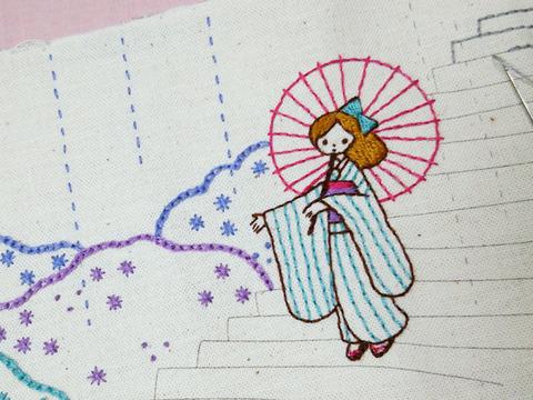 季節のワンシーン 12か月の刺しゅうミニ屏風 梅雨0001