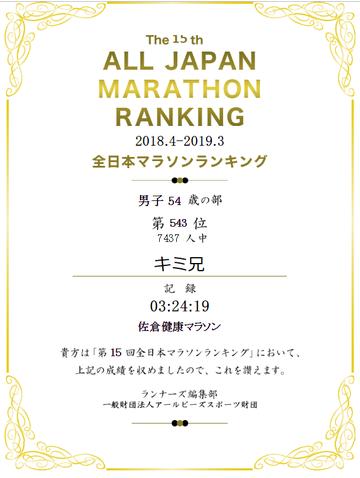 2018全日本マラソンランキング