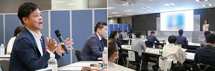 講評をする野津学長(左)、プレゼン中の受講生