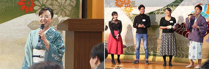 <篝火の湯 緑水亭>若女将 高橋知子さん(左)、「つや姫で食べる卵かけご飯セット」の内容を説明している皆さん(右)
