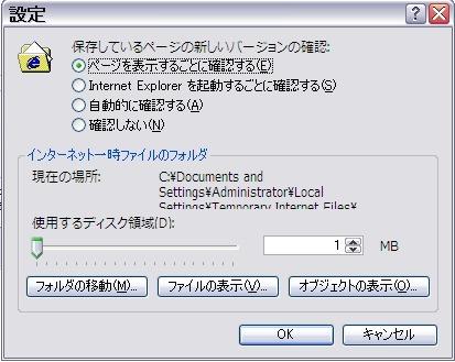 IE6インターネットオプション