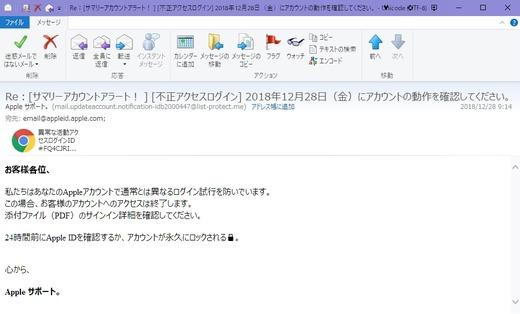 Appleサポート偽メール