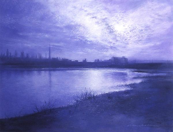 モノトーンで描く、川面と空の黄昏