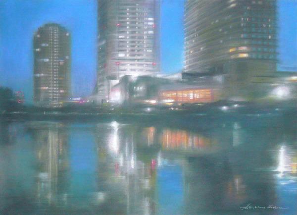 パステルで夜景、夜の光を描く。水に映った光を描く。