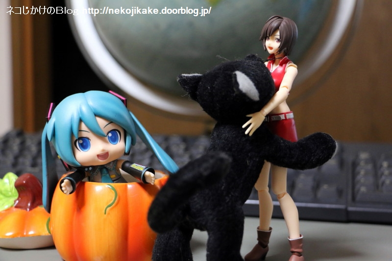 2017103107かぼちゃと黒ネコ。