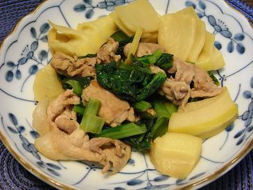 小松菜とタケノコの豚肉炒め