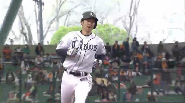 3回裏1外崎甘い球を捕らえソロアーチ (3)
