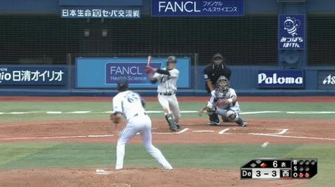 6回表1脇谷金子連続ヒット (1)