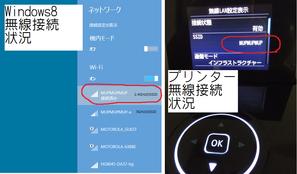 PCとプリンターの無線接続状況