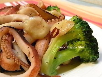 イカとブロッコリーのガーリック炒め